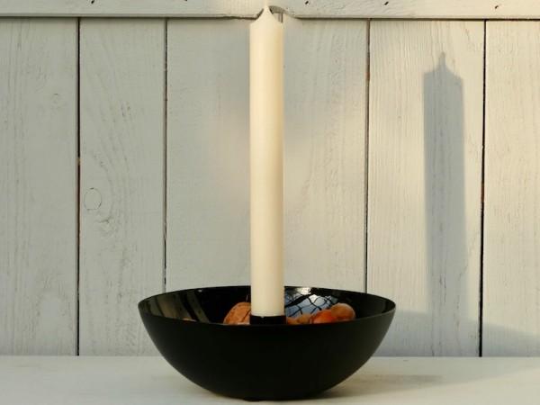 Metall-Kerzenschale, schwarz